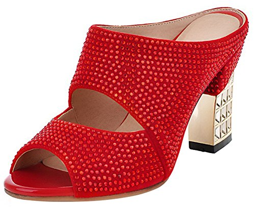 Mofri Women's Sexy Rhinestone Cut Out Peep Toe Sandals Block High Heels Slide on Mules Shoes (Red, 10 B(M) US)
