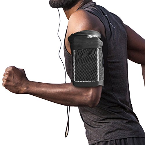 Large Product Image of iNeibo Universal Cellphone Armband, Ultra Soft Comfortable Lightweight Sports Running Arm band: 7 Inch Pocket for Iphone X/8/7/6/6s Plus,Galaxy S8 S7 S6 Edge, LG - Phone Holder, Money Bag