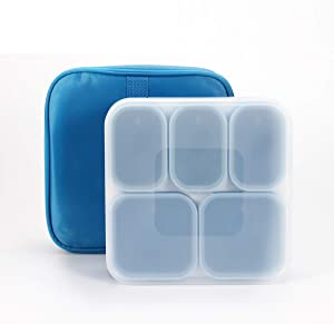 U Unus Bento Lunch Box, Meal Prep, Leak Proof, Reusable 5-Compartment Plastic Divided Food Storage Container Boxes for Kids & Adults, Microwave, Dishwasher and Freezer Safe