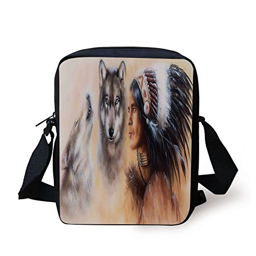 IPrint Native American,Blur Mystic Painting of Young Native Man Ethnic Feather with Wolves Ancient Decorative,Multicolor Print Kids Crossbody Messenger Bag Purse