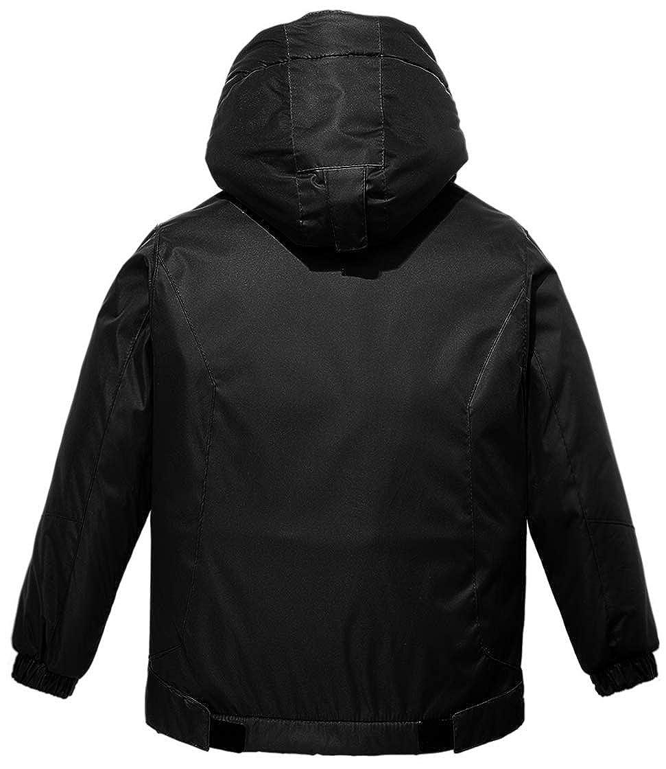 Wantdo Boys Waterproof Ski Fleece Jacket Hooded Windbreaker with Reflective Stripes