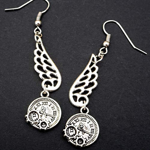 Silver Tone Wing and Clock Charms Steampunk Lightweight Dangle Earrings, Time Travel Doctor Who Gift