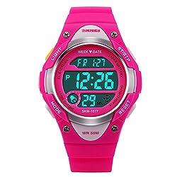 Kids Sport Watch 164 Feet Waterproof LED Digital Watch for Girls Rose Red