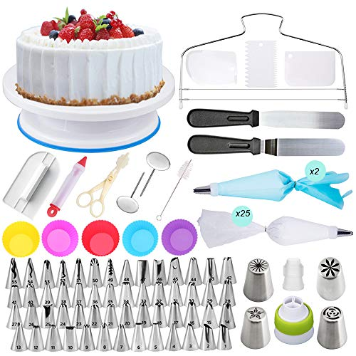 Cake Decorating Supplies - (107 PCS SPECIAL CAKE DECORATING KIT) With 55 PCS Numbered Icing Tips,4 Russian Piping Tips, Cake Rotating Turntable, BONUS Tips for Cake Caking Tools]()