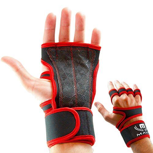 Mava Sports Gloves for Weights with Integrated Wrist Support - Silicone Padding Hand Wrap for Cross Training - Hook and Loop Gloves Wrist Weights - Fit Gym Gloves Against Calluses- WOD Glove, Pair