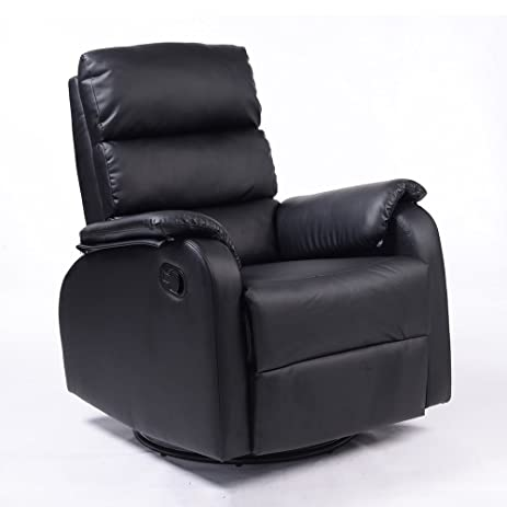 compact recliner chair. Dland Home Theater Seating Recliner Chair Compact Manual Leather Reclining Sofa Living Room Chairs, Black