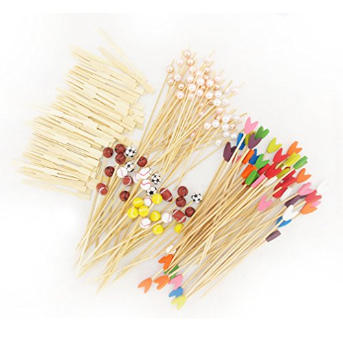 400 pcs Bamboo Skewer / Decorative Cocktail Picks Assortment 04, Sportsball, Tulip, Pearl and Mini Forks by BambooMN (Cocktail Pearl Fork)