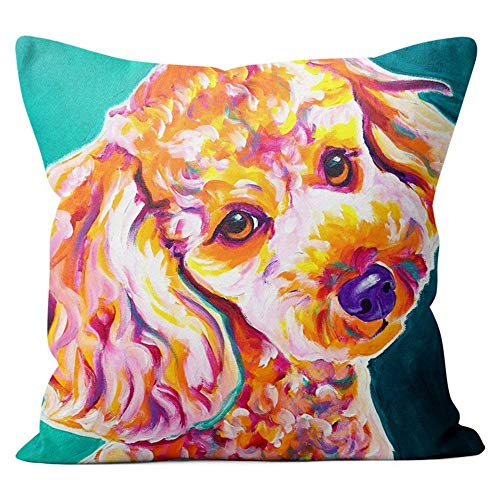 Hsdfnmnsv Miniature Poodle Throw Pillow Couch Cushion Decorative Accent Pillowcase Cover 18x18 Inch -