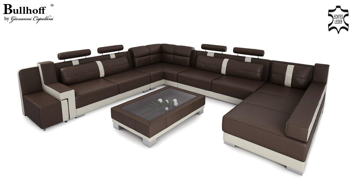 Ledercouch u form  Ledersofa Wohnlandschaft Leder XXL U-Form creme / orange Big Sofa ...
