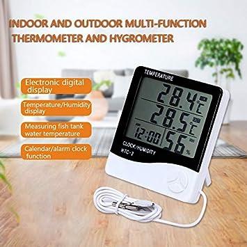 ZUZU Termómetro Digital Higrómetro Estación meteorológica Temperatura Humedad Medidor Reloj Pared Sensor Exterior Pantalla LCD: Amazon.es: Deportes y aire libre