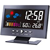 Thinp Digital Weather Forecast Station For Indoor Outdoor Thermometer Hygrometer Barometer Calendar With Alarm Clock and Snooze