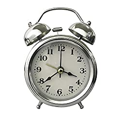 Retro Portable Twin Bell Alarm Clock with Stereoscopic Dial, Backlight, Battery Operated Loud Alarm Clock(Silver)