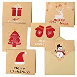 KUUQA 30Pcs Merry Christmas Greeting Cards Kraft Card Holiday Cards with Envelopes and Stickers, 4.72 x 7.87 Inches