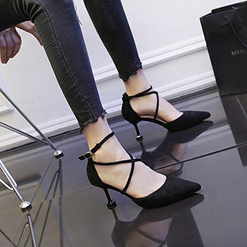 Chaussures Boucle Talon Service Un Couleur Haut Mot Avec Sangle Croix Shoeshaoge De Unie Pointu BPAfYxxw