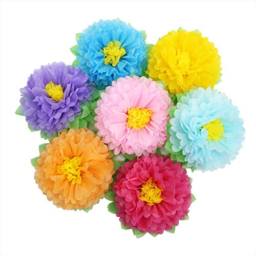 "Mybbshower Fiesta Flower for Carnival Large 11"" Set of 7 Rainbow Theme Party Birthday Celebration Backdrop Outdoor Decoration"