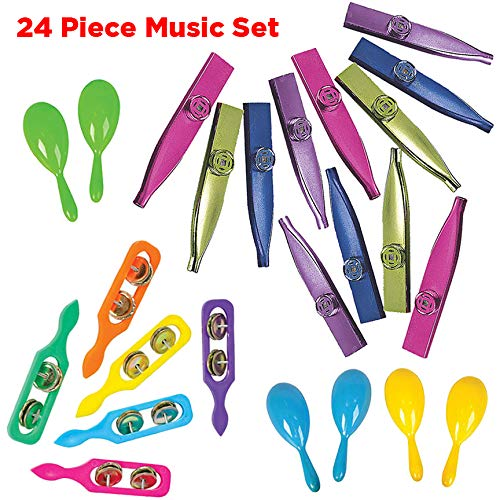 AbbyRose Bulk Noisemakers Party Favors | 24 Assorted Musical Instruments for Boys and Girls | 6 Each: Kazoos, Cymbals, and Maracas for Kids | Party Supplies, Classroom Resources, Fiesta, Pinata Filler Toys, and Carnival Prizes