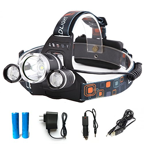 GWH 5000 Lumen 3 T6 LED Headlamp Rechargeable Headlight Waterproof Hands Free Head Light Lamp with Battery Charger for Outdoor Camping Hiking Hunting Cycling Fishing