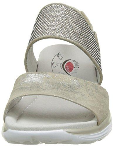 Donna Con Gabor Rollingsoft 93 argento visone Marrone Sandali Zeppa qwS4E4I