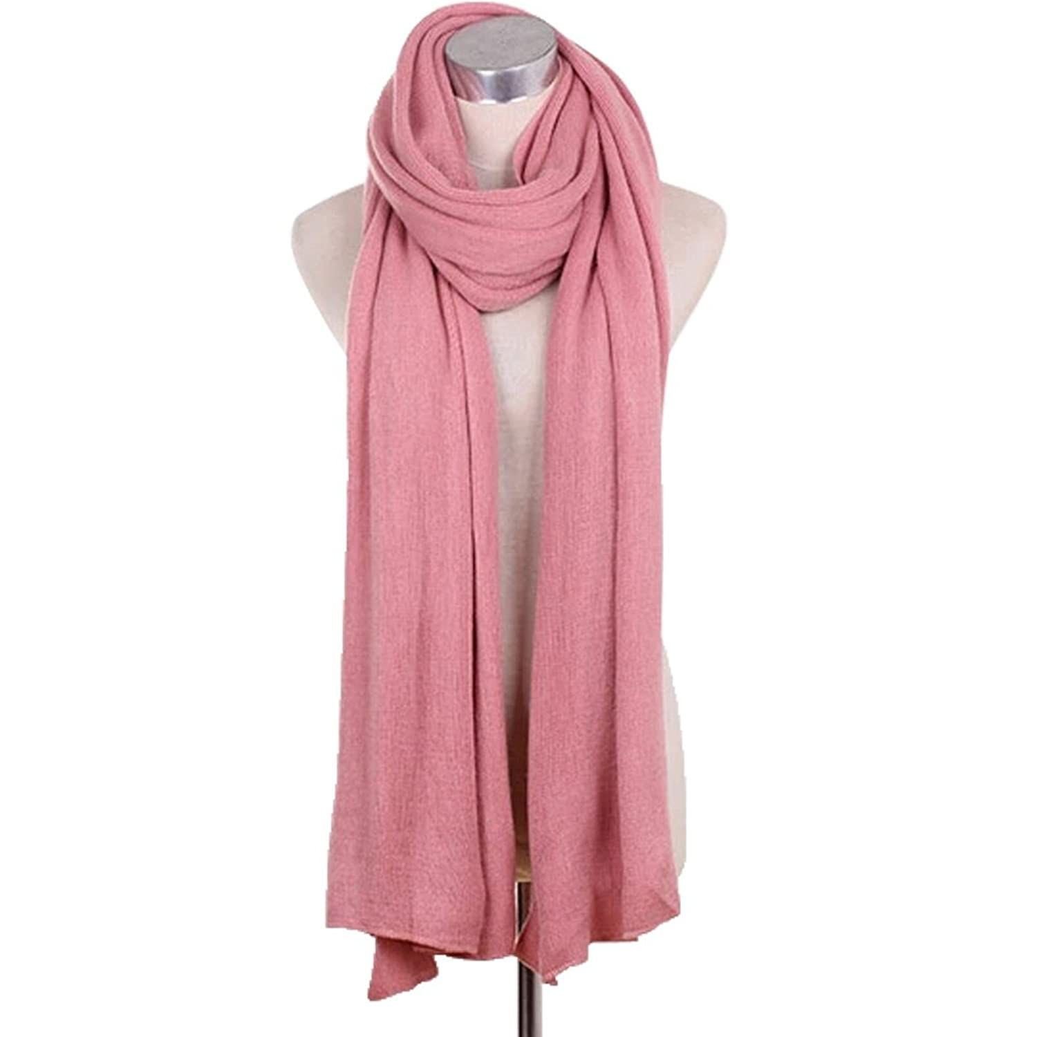 Lady's Stylish Pure Colour Scarves Luxurious Pashmina Scarf Knitted scarf Pink