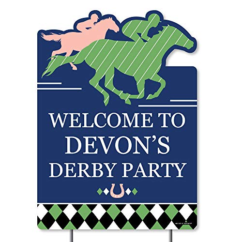 (Big Dot of Happiness Personalized Kentucky Horse Derby - Party Decorations - Custom Horse Race Party Welcome Yard)