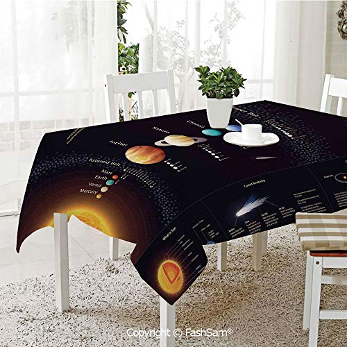 (AmaUncle 3D Dinner Print Tablecloths Detailed Solar System with Scientific Information Jupiter Saturn Universe Telescope Print Kitchen Rectangular Table Cover (W60 xL104))