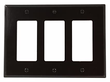 Leviton 80611 3 Gang Decora Midway Size Smooth Plastic Wallplate, Brown