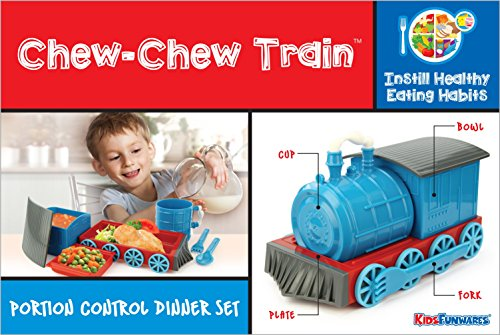 KidsFunwares Chew-Chew Train Place Setting, Blue - Transforms from a Train into a Functional Meal Set - Includes Bowl, Small Plate, Plate, Fork, Spoon, and Cup - Great Gift for Kids - Dishwasher Safe by KidsFunwares (Image #7)