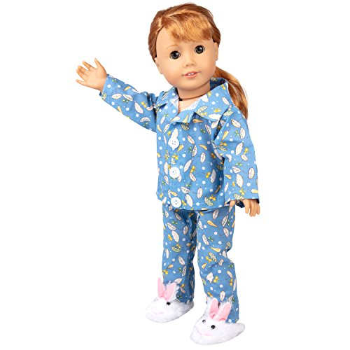 (Dress Along Dolly Blue Pajamas Doll Clothes - Rainy Day Set with Easter Bunny Slippers Outfit - 3pcs)