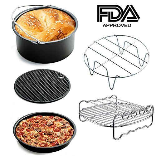 5 Sets of Air Fryer Accessories for Phillips Gowise And Cozyna, Fit All 3.4QT - 5.8QT For Cake Pizza Barbecue
