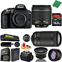 Great Value Bundle for D5300 DSLR – 18-55mm AF-P + 70-300mm AF-P + 16GB Memory + Wide Angle + Telephoto Lens + Case