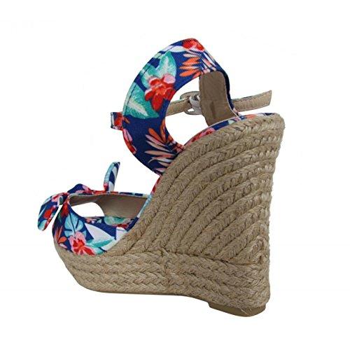 Zapatos de cuña de Mujer URBAN B717303-B7200 FLORAL NAVY