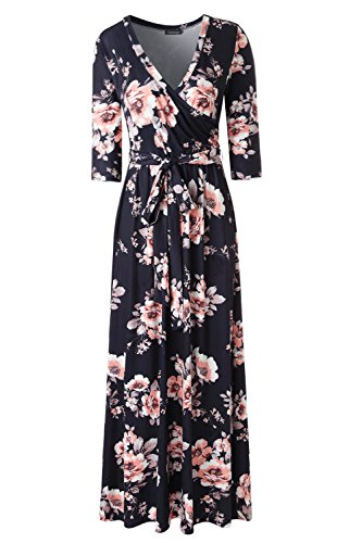 (Zattcas Womens 3/4 Sleeve Floral Print Faux Wrap Long Maxi Dress with Belt (Small, Black Orange))