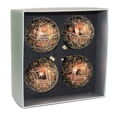 Season's Design Brown and Taupe with Gold Glitter 67mm Glass Ornament 4 Pack