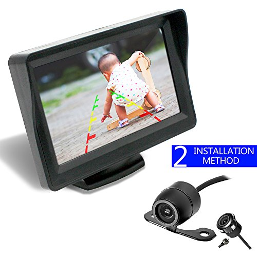 36 Month Warranty Backup Camera and Monitor Kit For Car/MPV/PICKUP/Truck/SUV,Universal Wired Waterproof Rear-view 2-installation Car Rear Backup Camera + 4.3 LCD Rear View Monitor (Wired Camera Kit)