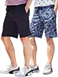 Mens Shorts with Zipper Pockets Quick Dry Travel Shorts (Medium, Black & Print)