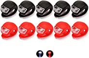 QUMENEY 10PCS Silicone Housing Bike Lights Set, Waterproof LED Clip-On Bicycle Lights, Bicycle Lights Front an