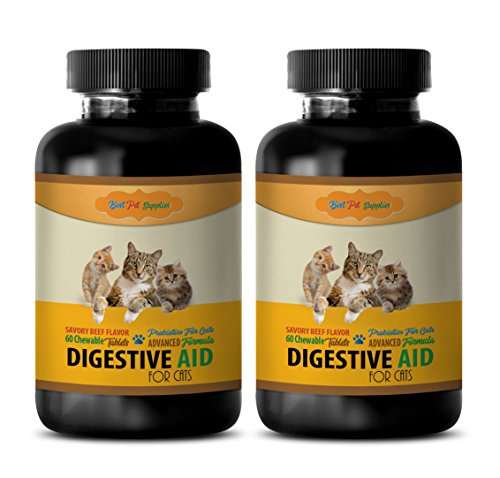 BEST PET SUPPLIES LLC digestive enzymes for cats tablets - DIGESTIVE AID - FOR CATS - SAVORY BEEF FLAVOR - PROBIOTIC FORMULA - CHEWABLE - cat probiotic treats - 120 Chews (2 Bottle)