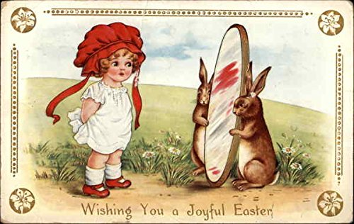 Bunnies Hold Mirror for Girl in Red Bonnet With Children Original Vintage Postcard