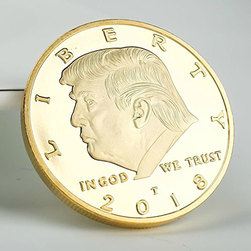 Large Product Image of 2 PACK The Official 2018 Gold Donald Trump Commemorative Coin - Authentic 24k Gold Collectible Coin of 45th United States President - Republican Collectibles Challenge Memorabilia Gift [CASE INCLUDED]