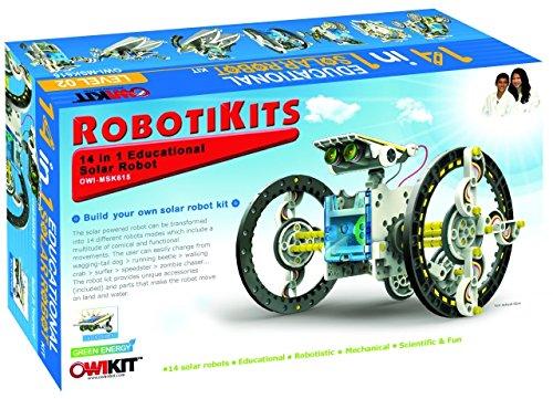 Elenco OWI-MSK615, Owi 14-in-1 Educational Solar Robot Kit, 8 Kits