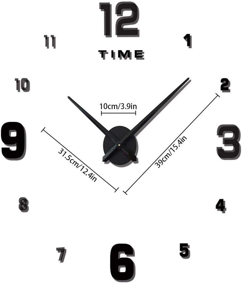Reloj de pared sin marco 3D Relojes de pared de bricolaje para ...