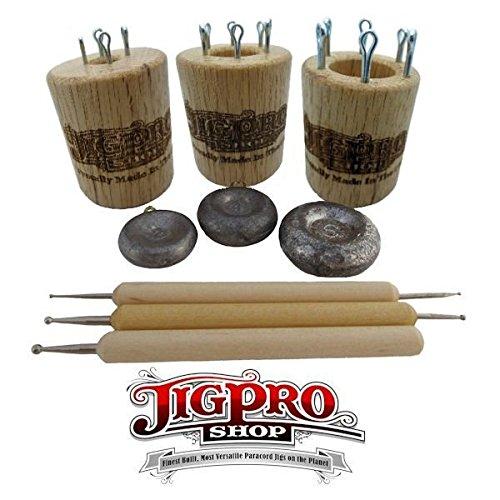 Double Sided Paracord Knitting Spool Set Kit (Small, Medium, & Large) Oak by Jig Pro Shop