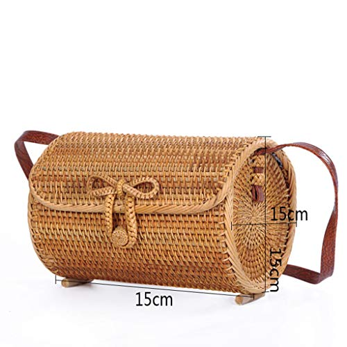 Women's Bag, Rattan Bag - Cylindrical - Slung - Beach Bag - Flower Lining - Retro Travel Bag by BHM (Image #1)
