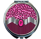 Rikki Knight Letter''P'' Hot Pink Leopard Print Stripes Monogram Design Round Compact Mirror