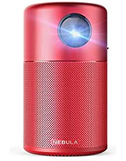 "Nebula Capsule Smart Mini Projector, by Anker, Portable 100 ANSI lm High-Contrast Pocket Cinema with Wi-Fi, DLP, 360° Speaker, 100"" Picture, Android 7.1, 4-Hour Video Playtime, and App-Red"