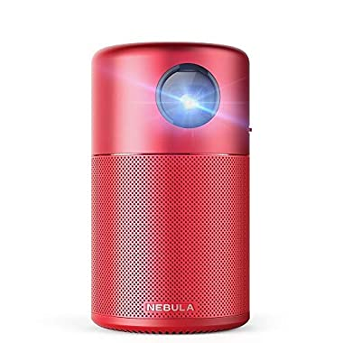 Nebula Capsule, by Anker, Smart Wi-Fi Mini Projector, Red, 100 ANSI Lumen Portable Projector, 360° Speaker, Movie Projector, 100 Inch Picture, 4-Hour Video Playtime, Outdoor Projector—Watch Anywhere