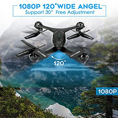 HSCOPTER 1080P Camera Drone for Adults Kids,WiFi FPV Drone with Camera,Voice Control, Gesture Control RC Quadcopter for Beginners with Altitude Hold, Gravity Sensor, RTF One Key Take Off/Landing