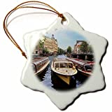 3dRose orn_138354_1 Cruise Boats, Amstel Canal, Amsterdam, The Netherlands Eu20 Mgl0074 Miva Stock Snowflake Ornament, Porcelain, 3-Inch