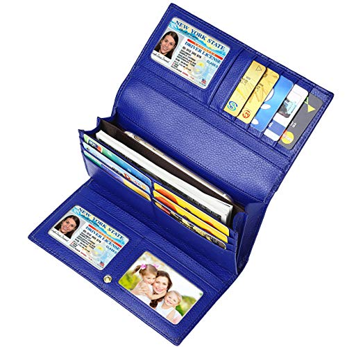 Lavemi RFID Blocking Trifold Leather Checkbook Clutch Wallets for Women(Blue)