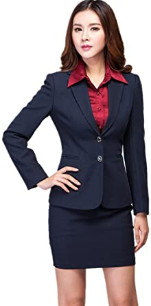 Amazon Com Women S Suit Navy Blue Jacket Skirt Set 2 Button Long